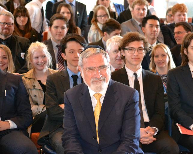 Rabbi Lord Jonathan Sacks with schoolchildren