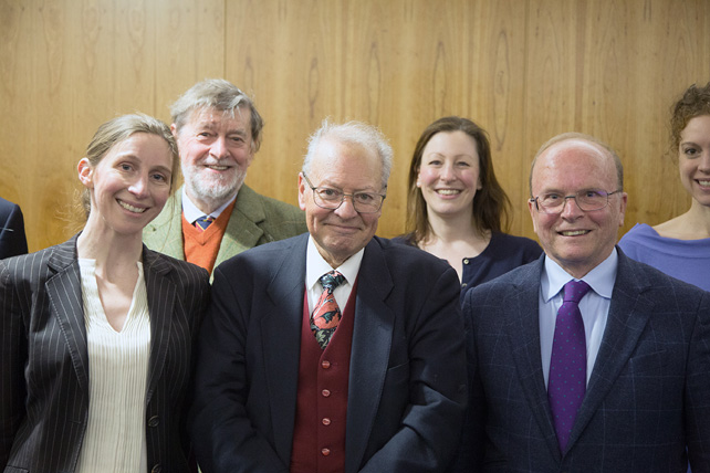 John Brooke with a few of the dinner guests: from left Judith Wolfe, Edmund Robertson, Helen Spreadbury, Eric Priest and Sarah Lane Ritchie